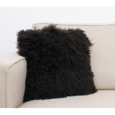 Mongolian Fur Throw Pillow Color: Coffee Bean