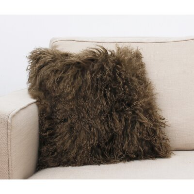 Mongolian Fur Throw Pillow Color: Amphora