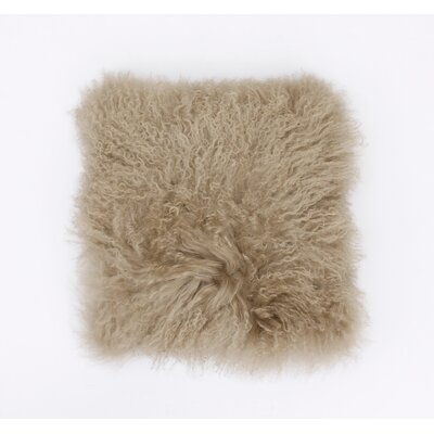 Mongolian Fur Throw Pillow Color: Humus