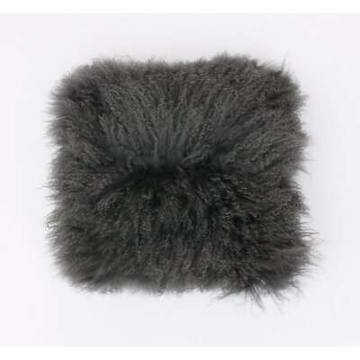 Mongolian Fur Throw Pillow Color: Charcoal