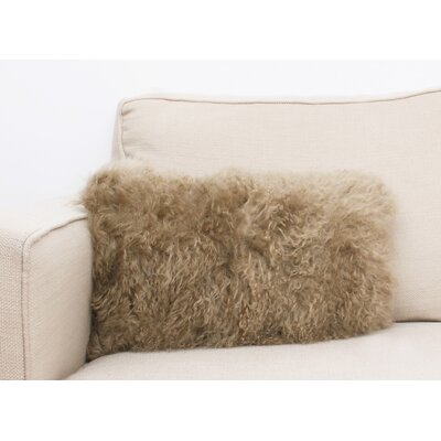 Mongolian Oblong Fur Lumbar Pillow Color: Humus