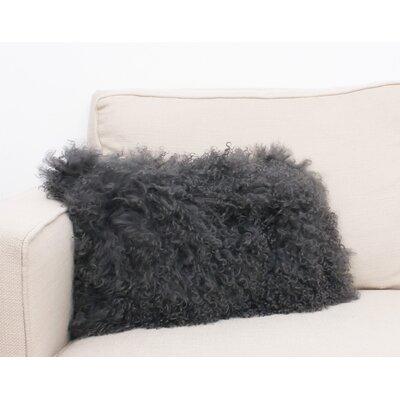 Mongolian Oblong Fur Lumbar Pillow Color: Charcoal
