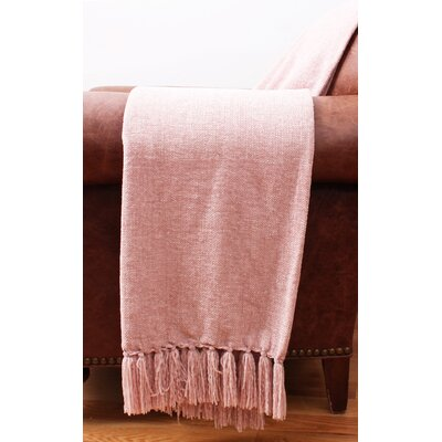 Cece Chenille Fringe Throw Color: Rose Smoke