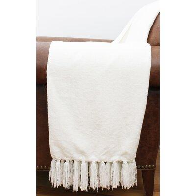 Cece Chenille Fringe Throw Color: Bright White
