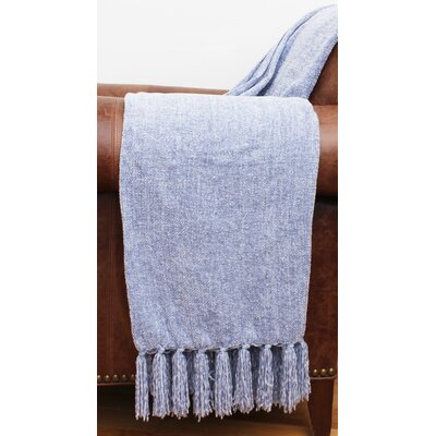 Cece Chenille Fringe Throw Color: Zen Blue