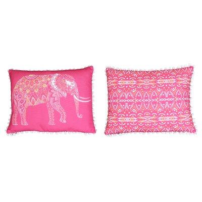 Attleboro Emmet Elephant Pom Pom Lumbar Pillow Color: Fandango Pink
