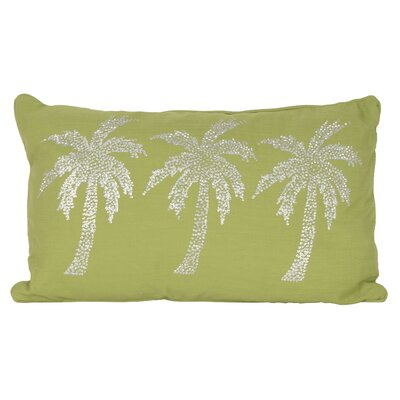 Elnora Palm Tree Lumbar Pillow Color: Dark Citron Silver