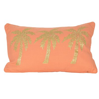 Elnora Palm Tree Lumbar Pillow Color: Emberglow Gold