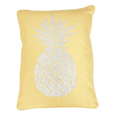 Elzada Pineapple Throw Pillow Color: Primrose Yellow Silver