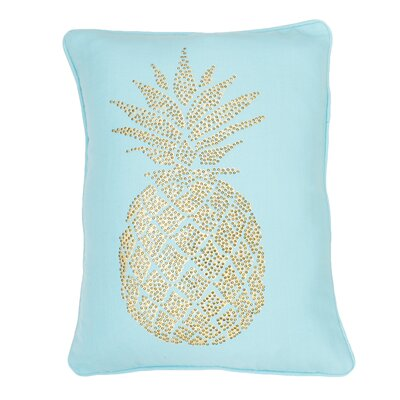 Elzada Pineapple Throw Pillow Color: Aqua Sky Gold