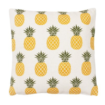 Ambrosina Pineapple Printed Cotton Throw Pillow