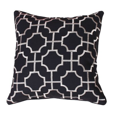 Allbright Embroidered Geo Throw Pillow Color: Black/Silver