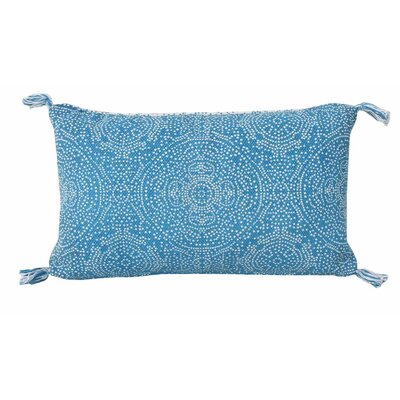 Cherree Reversible Dot Cotton Lumbar Pillow Color: Caribbean Sea/Bright White