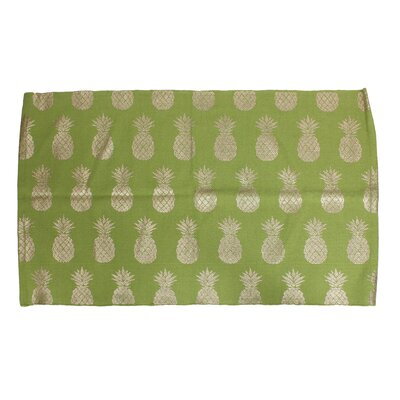 Amia Pineapple Foil Printed Green/Dark Gold Indoor Area Rug
