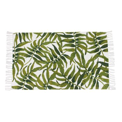 Amiya Leaf Printed Fringe Green Indoor Area Rug