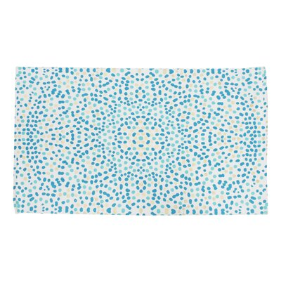 Baize Foil Printed Turquoise Indoor Area Rug
