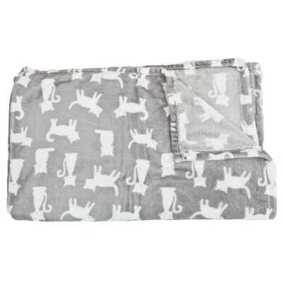 Cat Printed Fleece Pet Throw