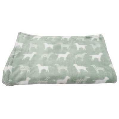 Dog Chevron Printed Flannel Fleece Pet Throw