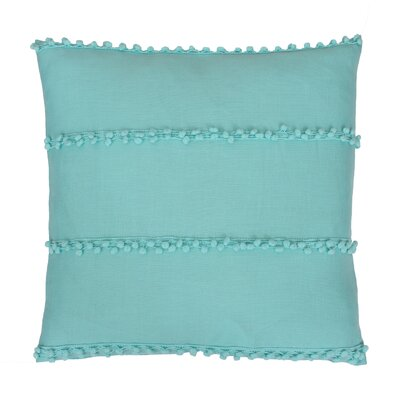 Rahma Pom Pom Throw Pillow Color: Poole Blue