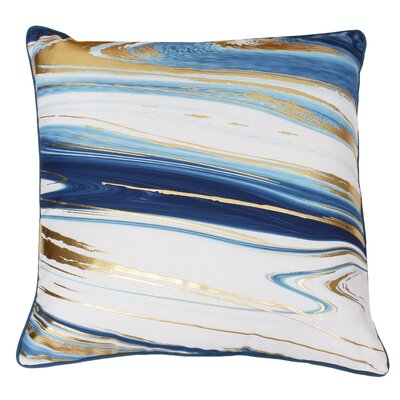 Ashanti Raised Foil Throw Pillow Color: Dragonfly Blue Gold