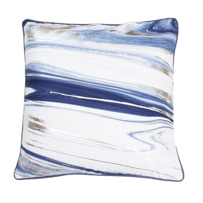 Ashanti Raised Foil Throw Pillow Color: Grisalle Dark Blue Silver