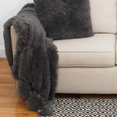 Alvarado Faux Fur Throw Color: Charcoal