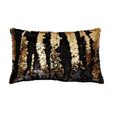 Mermaid Sequin Reversible Melody Lumbar Pillow Color: Black Gold
