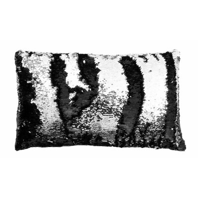 Mermaid Sequin Reversible Melody Lumbar Pillow Color: Black Silver