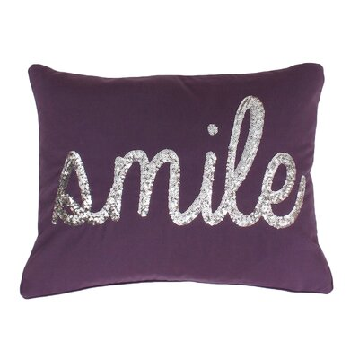 Smile Sequin Script Lumbar Pillow Color: Vintage Violet Gold