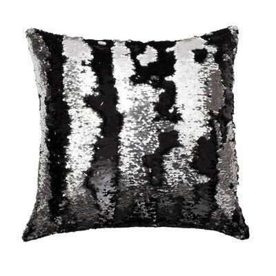 Melody Mermaid Throw Pillow Color: Black Silver