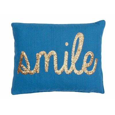 Smile Sequin Script Lumbar Pillow Color: Sapphire Gold