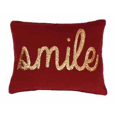 Smile Sequin Script Lumbar Pillow Color: Merlot Gold