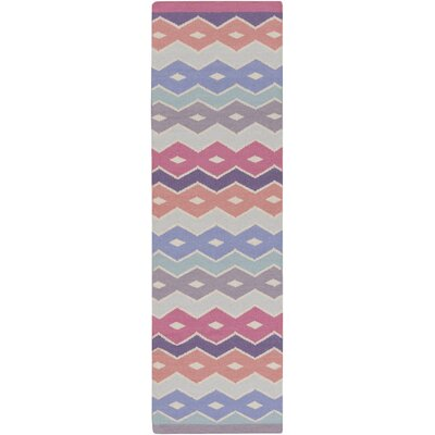 Native Geometric Hand Woven Pink/Gray Area Rug Rug Size: Runner 26 x 8
