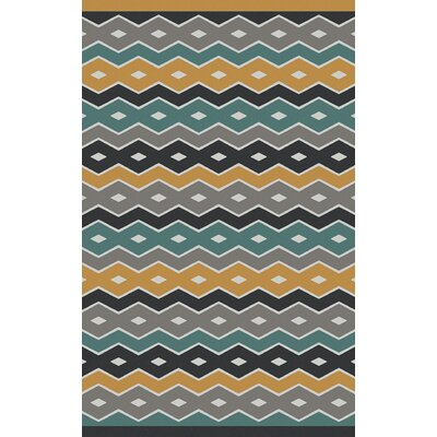 Native Geometric Hand Woven Wool Blue/Gray Area Rug Rug Size: Rectangle 5 x 8