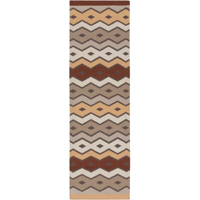 Native Geometric Hand Woven Wool Brown/Beige Area Rug Rug Size: Runner 26 x 8