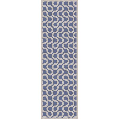 Native Hand Woven Wool Cobalt/Ivory Area Rug Rug Size: Runner 26 x 8