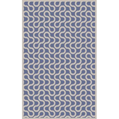 Native Hand Woven Wool Cobalt/Ivory Area Rug Rug Size: Rectangle 5 x 8