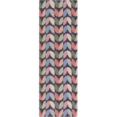Native Geometric Hand Woven Wool Slate/Pink Area Rug Rug Size: Runner 26 x 8