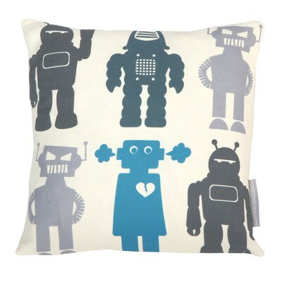 Robots Throw Pillow Color: Blue, Fill Type: Feather Down