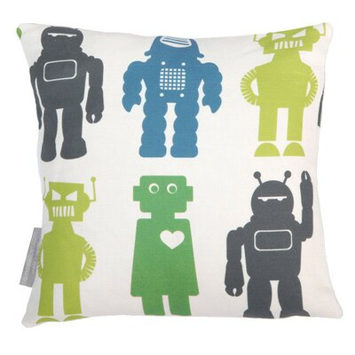 Robots Throw Pillow Color: Lime, Fill Type: Feather Down