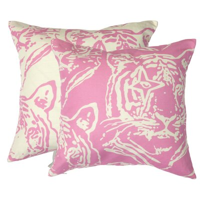 Star Tiger Inverted Throw Pillow Color: Pink, Fill Type: Feather Down