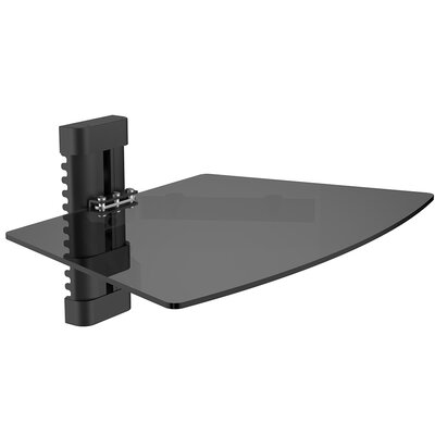 Single Tempered Glass AV Component Wall Shelf