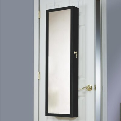 Bulgera Combination and Makeup Storage Wall Mounted or Over the Door Jewelry Armoire Color: Black