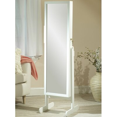 Germaine Makeup Organizational Jewelry Armoire with Mirror Finish: White