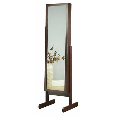 Germano Free Standing Jewelry Armoire with Mirror Finish: Cherry