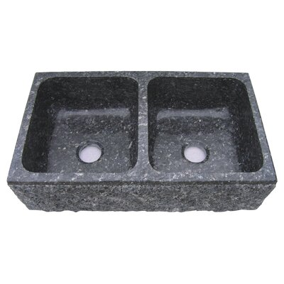 Farm Charm 33 x 19 Double Bowl Farmhouse Granite Kitchen Sink Finish: Black