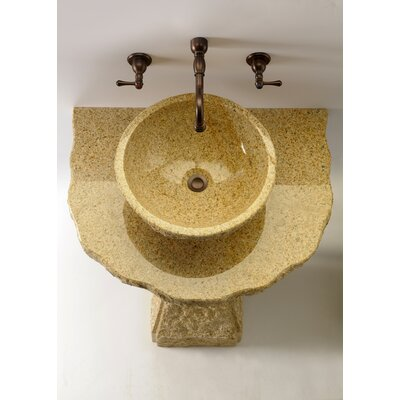 Pillar Divine Stone Specialty Vessel Bathroom Sink Sink Finish: Gold, Faucet Mount: Single Hole