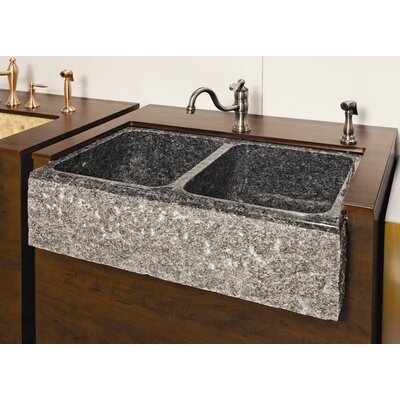 Farm Charm 33 x 19 Double Bowl Farmhouse Granite Kitchen Sink Finish: Gold