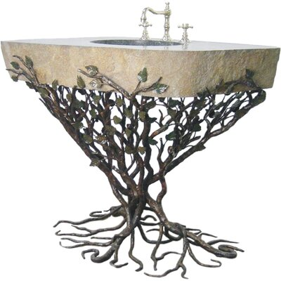 Organic Suites Embracious Aspen Forest Iron 25 Pedestal Bathroom Sink Sink Finish: Silver Shimmer, Sink Size: 41- 48