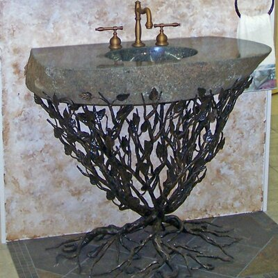 Organic Suites Embracious Aspen Forest Iron 25 Pedestal Bathroom Sink Sink Finish: Oil Rubbed Bronze, Sink Size: 41- 48